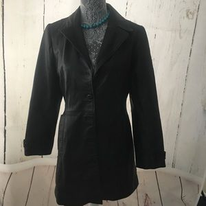 90's Genuine leather trench coat Small